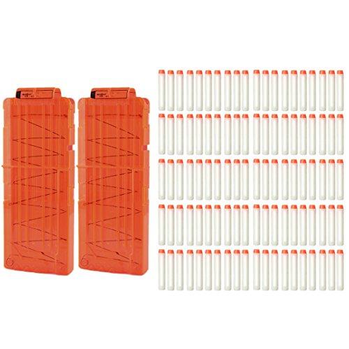 MRKE 2 Stück 12-Dart Clip Magazin + 100 Stück Weiß Darts Pfeile Leuchtend im Dunkeln für Nerf N-Streik Elite-Serie (Nerf Im Streik)
