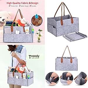 Diaper Caddy Organiser Portable Felt Storage Bag Diaper Children Toys Storage Organizer Baby Nappy Storage Nursery Bin Storage Bag for Mom Newborn Kids