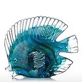 Tooarts Glas Skulptur Heimdekoration Glas Fische moderne Skulptur Bunt gepunktete tropische Fische Typ 2