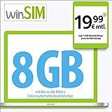 winSIM LTE Internet XL Datentarif - 24 Monate Laufzeit (8 GB LTE mit max. 50 MBit/s mit deaktivierbarer Datenautomatik, 19 Cent pro Minute und SMS, 19,99 Euro/Monat)