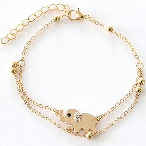 Yesiidor Armbänder Gold Armband Damen Elefanten Muster Einstellbar Schmuck
