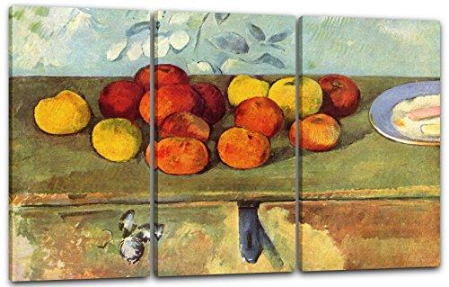Paul Cézanne - Stillleben mit Äpfeln und Gebäck, 120 x 80 cm (Dreiteiler, 3 x 40x80cm) (weitere Größen verfügbar), Leinwand auf Keilrahmen gespannt und fertig zum Aufhängen, hochwertiger Kunstdruck aus deutscher Produktion (Mit Äpfeln Stillleben Cezanne)