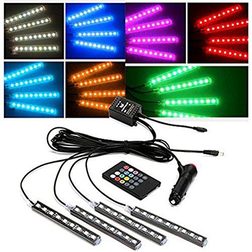 Preisvergleich Produktbild dingdangbell Lichtleiste für die Auto-Innenraumbeleuchtung, 4x 9LED-Lichtstreifen, mit Fernbedienung, bunt, RGB, neonfarben leuchtend für eine schöne Atmosphäre, wasserdicht