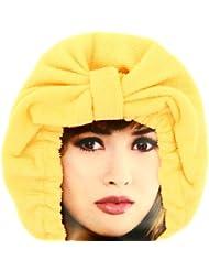 -Charlotte de Bain Luxe en tissu absorbant Bonnet Microfibre Orange