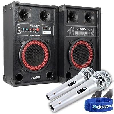"8"" Fenton Active Passive Speakers with USB/SD Reader + Microphones"