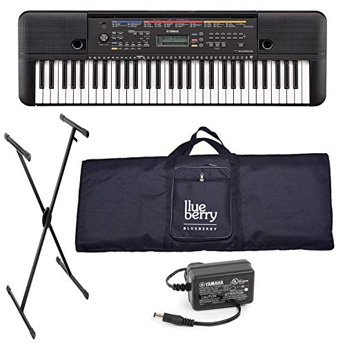 Yamaha PSR E263 Digital Portable Keyboard (61 Keys) With Adopter, Blueberry Bag & Stand