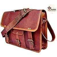 Sankalp Leather Bolsa de mensajero en cuero para hombres, maletín, diseño vintage, 15 pulgadas