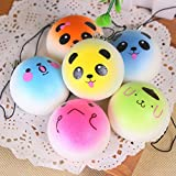 Enlarge toy image: Welecom Squishy Toys,Cute Slow Rising Squishies Phone Charms,Stress Relief Super Soft Bun Kawaii Smiley Face Expression 4CM(Random Delivery)