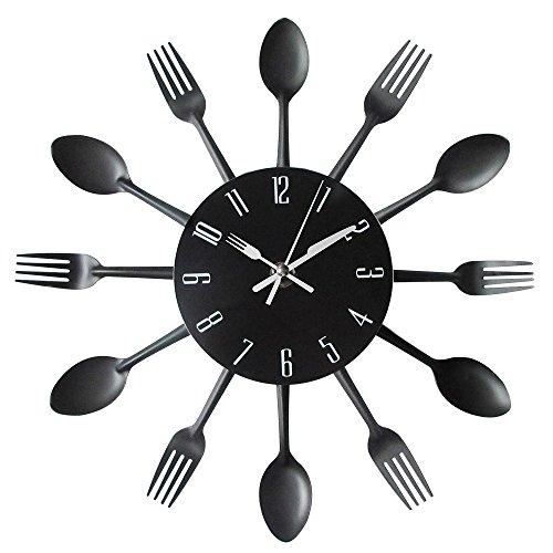 Preisvergleich Produktbild Vinteen Europäische Küche Uhren Wohnzimmer Besteck Kreative Mode Persönlichkeit Löffel Gabel Amerikanischen Uhr Schlafzimmer Wand Charts Mehrfarbige Horologe (Größe: 30 cm) ( Color : Black )