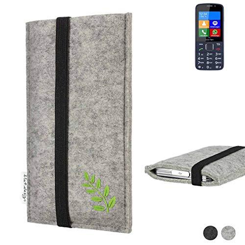 flat.design Handy Hülle Coimbra für bea-fon SL820 Made in Germany Handytasche Filz Tasche Case grün Blatt Blätter Natur