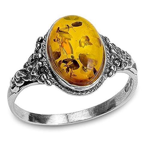 Noda bague en ambre et argent petit ovale