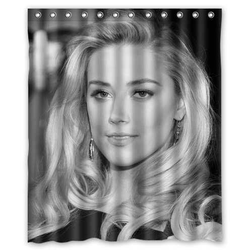 "LOVELIFE Amber Heard Black Dress Hollywood Star Custom Shower Curtain 60""X 72"""