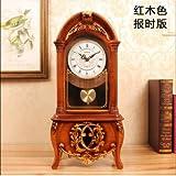 Y-Hui Peening Time-Base Clock Desk Clock Clock Im Wohnzimmer Schlafzimmer alte Pendeluhr Desktop Dekor Schwingen ist 12 Zoll, Dunkelbraun (Bericht)