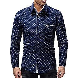 IYFBXl Camisa Delgada de algodón de tamaño asiático para Hombre - Cuello de Camisa de Lunares, Azul Marino, L