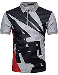 POLP Hombres Polos Manga Corta Básico Polo con Botones Camisetas de Cuello  de Solapa Tops de Estampado Casual… fe9bdc3d0657