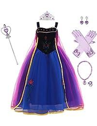 OBEEII Eiskönigin 2 Prinzessin ELSA Kostüm Kinder Lange Ärmel Glanz Kleid Mädchen Weihnachten Verkleidung Karneval Party Halloween Fest mit Zubehör 2-14 Jahre
