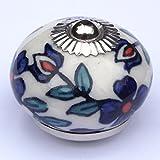 Pizarra crema redondas con flores azules y verde azulado hojas (accesorios de cromo) cerámica armariete tiradores MirrorOutlet pomos de porcelana