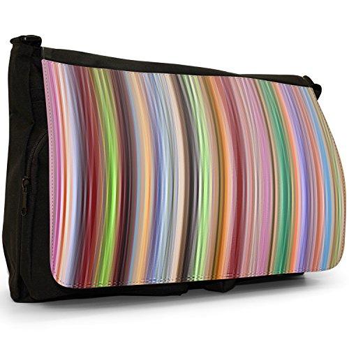 Fancy A Bag Borsa Messenger nero Hippy Pattern Multicolour Lines