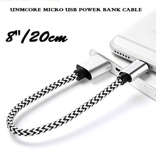 UNMCORE Braided Nylon Short Micro USB Power Bank Charging Data Cable Oxidation resistance For All Android Smartphone Devices (20 CM) - Silver