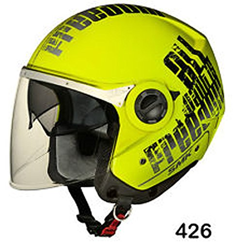 SMK Swing Open Face Dual Visor Graphic Desgner Helmet, FREEDOM GL426, F. Yellow With Black, XL - 610 Cms, Clear Visor
