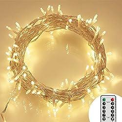 [telecomando e timer] 100ER LED outdoor catena di luci a batteria bianco caldo (8modi, IP65impermeabile, illuminazione da esterno)