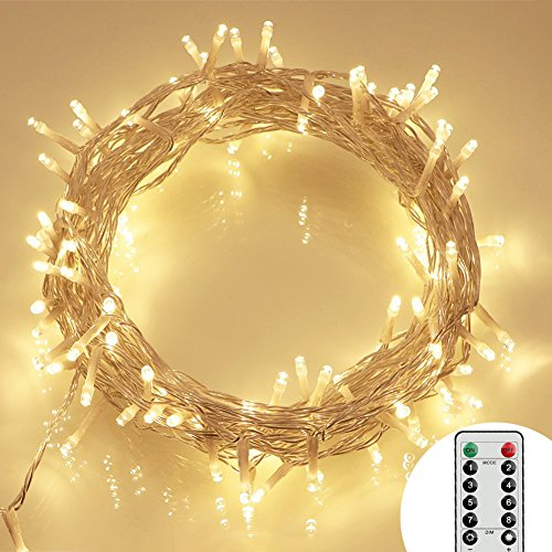 Koopower [Remote amp; Timer] 100 LED Outdoor Battery Fairy Lights (8 Modes, Dimmable, IP68 Waterproof, Warm White)