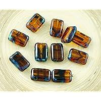 8pcs Picasso Blu di Cristallo Tartaruga Gialli a righe in stile Rustico Tavolo di Taglio Rettangolo Piatto ceca Perle di Vetro 12mm x 8mm