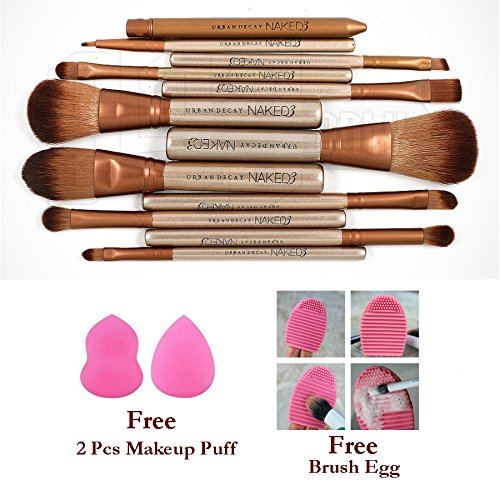 Lifestyle You 12 Pcs Makeup Brush Set ,Free 2 Pcs Makeup Sponge Puff Beauty Blender ,1 Pc Brush Egg Brush Cleaning Tool