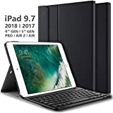 iPad Keyboard Case for iPad 9.7 Inch 2018 (6th Gen) - iPad 9.7 Inch 2017 (5th Gen) - iPad Pro 9.7 Inch - iPad Air 2 - iPad Air 1, Thin Case with Detachable Wireless Keyboard, Auto Wake/Sleep - Black