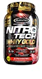 Muscle Tech NitroTech Whey Gold 100 Percent Whey Protein Powder, 1 kg, Strawberry