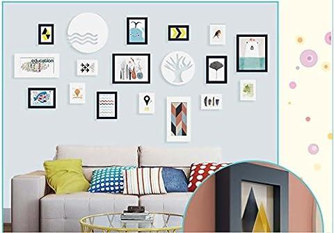 Ensemble de cadre photo en BOIS SOLIDE - 16 cadres - VERRES DE VERRE - Avec décoration murale - Largeur de cadre 2cm - blanc / bleu-Cadeaux Idéal , white