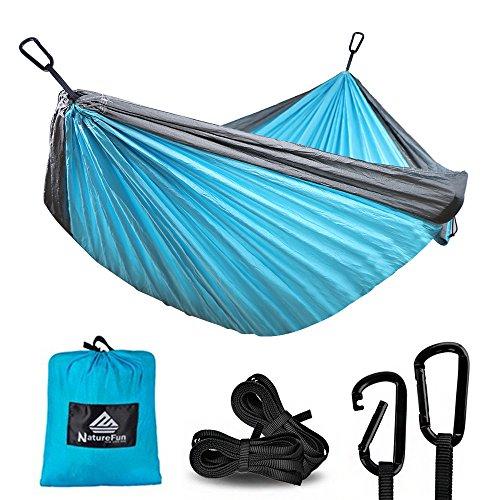 NatureFun Ultra-Leichte Tragbare 100% Fallschirm-Nylon Reise Camping Hängematte mit 300kg Kapazität