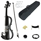Kinglos 4/4 Black Grid Colored Solid Wood Advanced Electric/Silent Violin Kit with Ebony