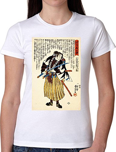 T SHIRT JODE GIRL GGG22 Z1806 JAPAN DRAWING VINTAGE SAMURAI EXOTIC FUN FASHION COOL BIANCA - WHITE