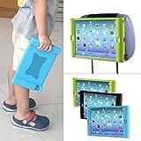 TFY Supporto iPad 2 / 3 / 4 Poggiatesta Auto per Bambini – Smontabile Leggero Anti-Urti Anti-Scivolo Silicone Morbido Cover Maniglia, verde immagine