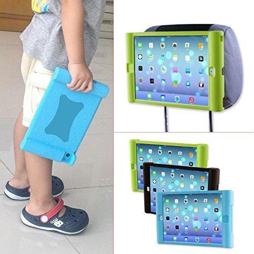 TFY Supporto iPad 2 / 3 / 4 Poggiatesta Auto per Bambini - Smontabile Leggero Anti-Urti Anti-Scivolo Silicone Morbido Cover Maniglia, blu
