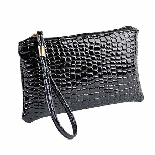 Damen Handtasche Tasche,Huihong Modische PU Krokodilleder Kupplung MüNze GeldböRse Schwarz
