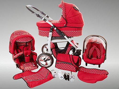 Chilly Kids Dino Kinderwagen Sommer-Set (Sonnenschirm, Autositz & Adapter, Regenschutz, Moskitonetz, Getränkehalter, Schwenkräder) 35 Rot & Weiße Punkte