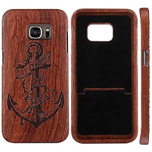 Preisvergleich Produktbild Galaxy S7 Edge Hülle Holz,  ZXK CO Echt-Holz Handy Cover Schutzhülle für Samsung Galaxy S7 Edge Protective Hardcase mit Anker Graviertes muster