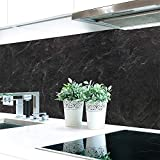 Küchenrückwand Schiefer Schwarz Premium Hart-PVC 0,4 mm selbstklebend 340x80cm