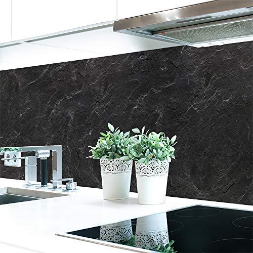 Küchenrückwand Schiefer Schwarz Premium Hart-PVC 0,4 mm selbstklebend - Direkt auf die Fliesen, Größe:Materialprobe A4