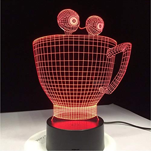 (Cartoon Tasse 3D LED Lampe Neuheit visuelle Dekor Tischlampe mit 7 Farben ändern LED Schreibtischlampe als Dekorationen niedlichen Kinder Geschenk)