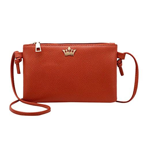 Frauen Krone Abendtasche Retro Handtasche Umhängetasche Damen Mädchen Crossbody Schultertasche Leder Messenger Tasche (Braun) (Schulter Vintage Gesteppte Tasche)