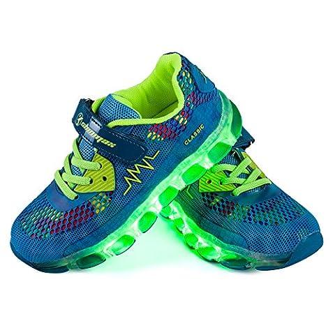 LED Chaussures,Shinmax Printemps-Été-Automne Respirante Lumineuse Chaussure USB Rechargeable Enfant LED Basket Clignotants Chaussures avec CE Certificat pour Fille et Garçon (33, BLEU CLAIR-)