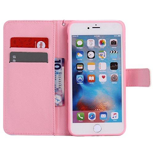 PU Coque Cuir iPhone 6 Plus (5.5 pouces), étui en cuir PU Cuir Flip Magnétique Portefeuille Fermeture Aimantée de Motif Imprimé Étui Housse en Cuir Ultra-mince Avec La Stand Fonction Stand pour Apple  9