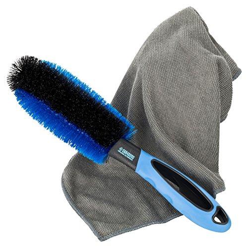 CAR4GOOD ® Felgenbürste mit ummanteltem Draht und Mikrofasertuch zur effektiven Reinigung von Stahl- und Alufelgen - Premium Qualität - Felgenreinigung für Auto Felge Motorrad Fahrrad Haushalt (blau)