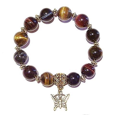 Brown, Red & Blue Tiger's Eye Gemstone & Antique Gold-Tone Handmade Stretch Bracelet