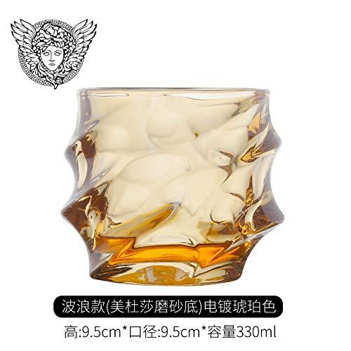 Amber Wave (Glaseres Wassergläser Haushaltsgläser, Ausländische, Viereckbecher, Europäische Persönlichkeit, Medusa Whiskybecher, Kreative Rotwein-Utensilien, Amber Wave Whisky Cup - Mentha Medusa)