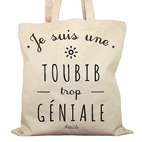 Tote Bag Imprimé Ecru - Toile en coton bio - Je suis une Toubib trop géniale