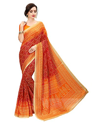Glory Sarees Cotton With Blouse Piece (bandhanisaree1_red_Red_Free Size)